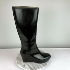 Hunter Champery Womens Size 9 Black Glossy Logo Embossed Tall Wedge Rain Boots