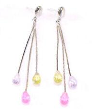 Pendientes largos de bisutería multicolores de cristal
