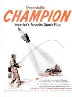 1948 Champion Spark Plugs PRINT AD Vintage Fly Fishing