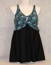 ELLOS Swimsuits for All Support Bra Swim Dress PLUS HIDE HIPS Aqua Black NWT 18