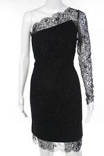 Tadashi Black Lace One Shoulder Day Dress Size M