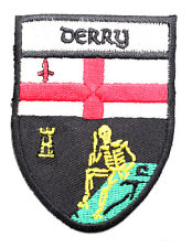 Irish Derry Crest Shield Embroidered Iron Sew-on Cloth Badge Patch Appliqué