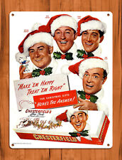 "TIN SIGN ""Chesterfield Christmas"" Hope Crosby Como Cigarette Ad Sign Wall Decor"