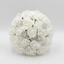 Artificial Wedding Flowers Bridesmaids Posy Bouquet White Roses with Brooches