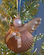"""""""itreekedyou.com"""" Sea Shell One Winged Angel Handmade Christmas Ornament"""