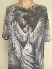 AFFLICTION BAMBOO ALL OVER GRAPHIC T SHIRT Gray DISTRESSED Thin USA MADE XL