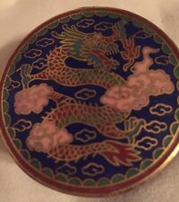 Vintage Fire Breathing Dragons Cloisonné Trinket Box Pink Clouds