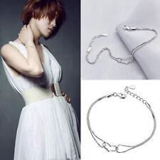 Fashion Lady Silver Plated  Heart Love Bracelet Silver Chain Women Jewelry CEP