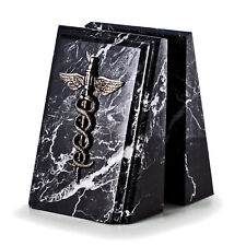 BOOKENDS - MEDICAL CADUCEUS BLACK MARBLE BOOKENDS - DOCTOR - NURSE