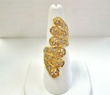 L@@K Stunning Solid 22K Yellow White Gold Large Shield Ring Hindu style size 7.5