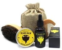 Men Beard Growth Moustache Cream and Oil Kit with Moustache Comb Brushes