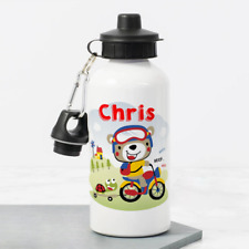 Personalised Teddy Bicycle Motorbike 400ml Kids Children's Water Drinks Bottle