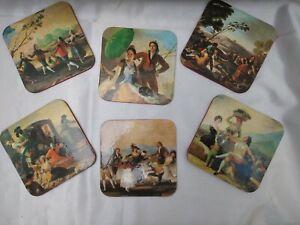 Francisco de Goya Painting Coasters, Set of 6 Vintage Fine Art Coasters, MINT!