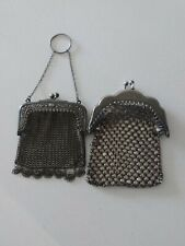 More details for  victorian   2x  silver chain link mail mesh purses.