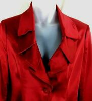 Cache size large jacket red satin blazer 3/4 length long sleeve womens dressy