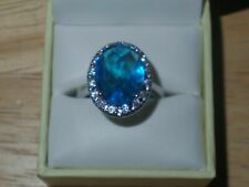 Blue Simulated Sapphire CZ .925 Sterling Silver Ring - Size 10