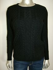 Karen Scott Women's Petite Shimmery Cable & Diamond Knit BOLD Black PP