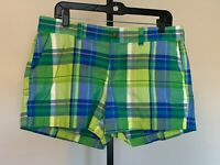 Womens Old Navy Green Plaid Shorts sz 10 Cotton Casual