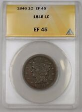 1846 US Braided Hair Large Cent Coin ANACS EF-45