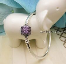 NEW Authentic PANDORA Silver PURPLE Pave SIGNATURE CLASP Charm Bracelet 16 6.3