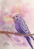 ACEO original painting parakeet Lavender bird art listed by artist Artettina USA