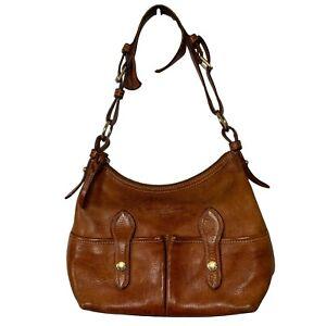 DOONEY & BOURKE Chestnut, Small Lucy Florentine Vacchetta Leather Shoulder Bag