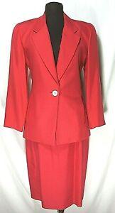 Vintage Perry Ellis Portfolio Petite Red Silk Skirt Sz 10 Jacket Sz 2 Suit Belt