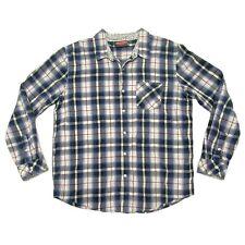 Mambo Australia Flip Cuff Button Up Blue Plaid Long Sleeve Shirt Mens Size XL