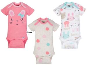 Gerber Baby Girl 3-Piece Organic Cotton Pink Bunnies Onesies Size Preemie