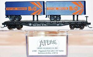 Baltimore & Ohio 8714 Piggyback Flat w/ 2 Trailers Atlas 37491 N Scale AU4.4