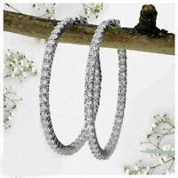 2.80 ct Round Diamond Inside Out Hoop Earrings 14k White Gold Finish For Women's