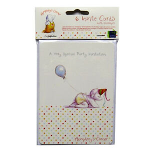 Humphrey's Corner Party Invitation Cards - 6 Cards and Envelopes - by Sally Hunt