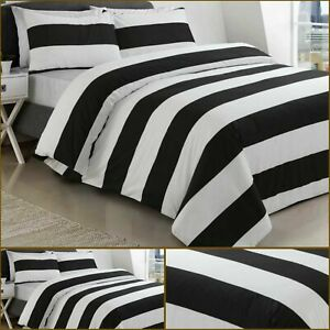100% Cotton Black and White Stripes Printed Duvet Cover Sets All Sizes