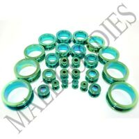 "V015 Screw-on/fit Green Surgical Steel Flesh Tunnels Ear Plugs 10G~1"" Gauges"