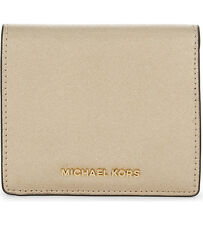 NWT Michael Kors Jet Set Travel Carryall Card Case Wallet Saffiano Pale Gold