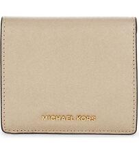 NWT Michael Kors Jet Set Travel Carryall Card Case Wallet Saffiano Pale Gold