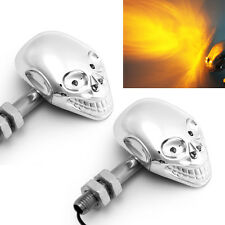 2x Universal Skull 4 LED Turn Signal Motorcycle Indicator For Harley Custom