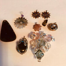 Lot of 9 artsy hand crafted pendants charms preowned