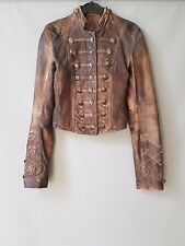 AllSaints jacket brocade Military burnished lambs leather cropped UK 6