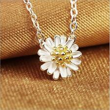 925 Sterling Silver Plated Daisy Flower Charm Pendant Necklace 18""