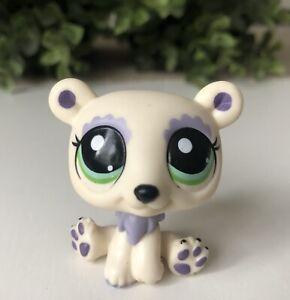 LPS Littlest Pet Shop Bear White Polar Bear Lilac Purple Green Eyes Loose
