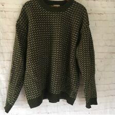 LL Bean Norwegian Heritage Sweater Olive Green With Ivory Cream White Checks XL
