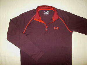 UNDER ARMOUR HEAT GEAR 1/4 ZIP LONG SLEEVE MAROON LOOSE FIT SHIRT MENS SMALL EXC