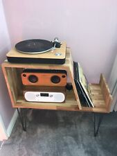 Handmade To Order Pine record player cabinet With Metal Hairpin Legs