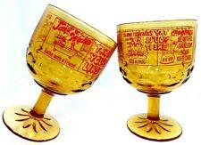 VTG 1970s (2) Footed Amber Glass Jousters Beer Mug Barware Comical Phrases USA