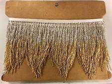 "5yd Bolt 6"" SILVER/GOLD Ombré Glass BUGLE Beaded Fringe CHEVRON Costume Trim"