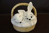 Hand Painted Ceramic Easter Bunny Basket With Lid