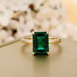 3Ct Emerald Cut Green Emerald Solitaire Engagement Ring In14K Yellow Gold Finish