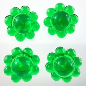 Vintage Molded Plastic Green Flower Garment Button .75in Set of 4 Pattern 193B