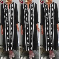 Womens Kaftan Long Sleeve V Neck Tunic Dress Ladies Loose Maxi Dress Abaya Dress